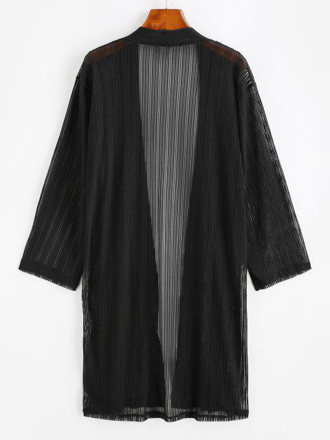 sale Shadow Stripes Side Slit Longline Cover Up - BLACK L Mobile