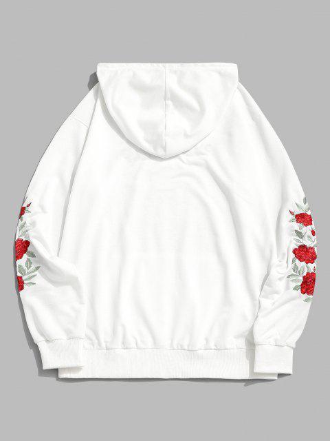 ZAFUL Blumen Buchstabe Stickerei Tunnelzug Hoodie - Weiß 2XL Mobile