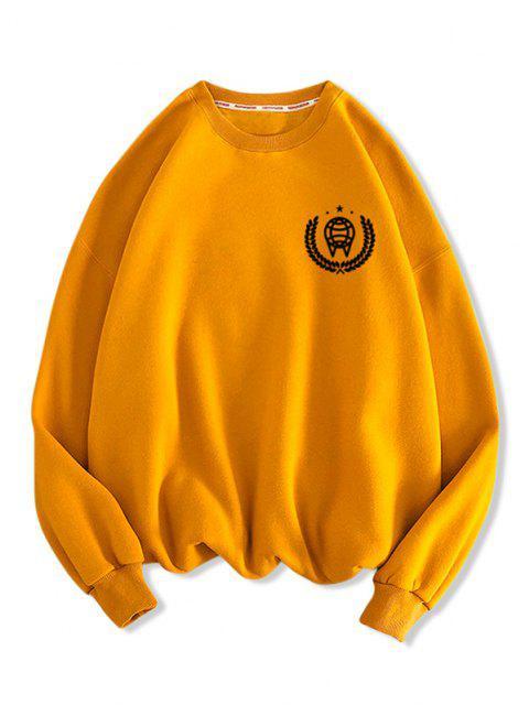 Sweat-shirt Motif Géométrique Imprimé à Col Rond - Orange d'Or M Mobile