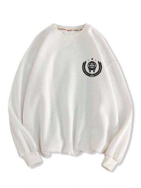 Sweat-shirt Motif Géométrique Imprimé à Col Rond - Blanc L Mobile