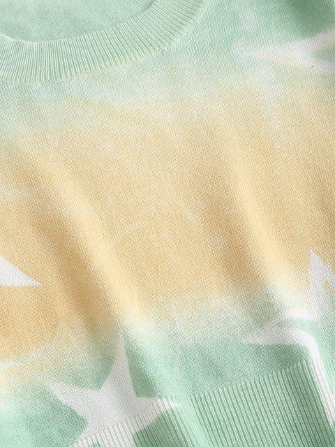 クロップドタイダイスターセーター - 黄 ワンサイズ Mobile