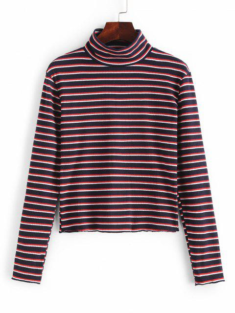 sale High Neck Striped Ribbed Knit Top - MULTI M Mobile