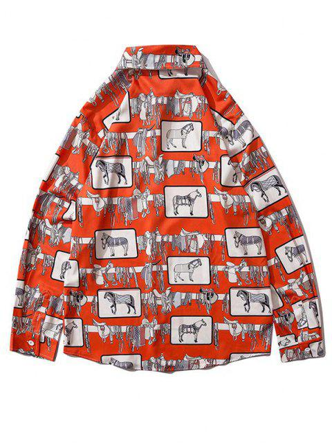 shop Horse Print Button Up Casual Shirt - RED L Mobile