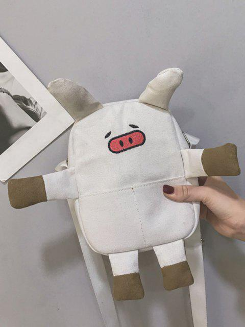 unique Cartoon Pig Canvas Crossbody Bag - WHITE  Mobile