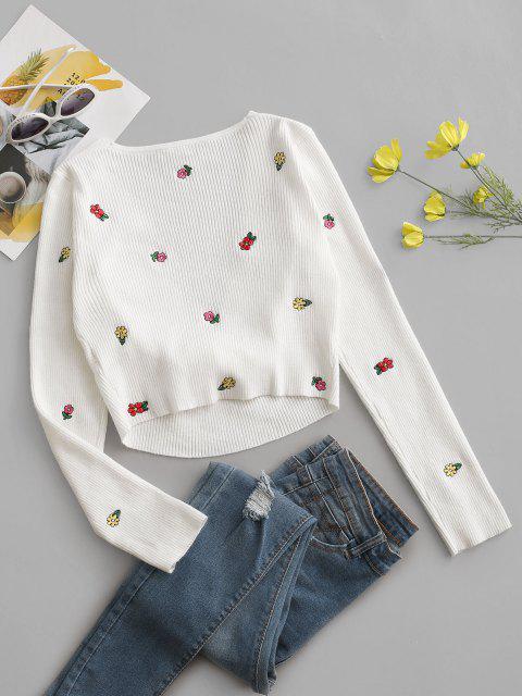 Winzige Geblümte Gestickter Gebundener Pullover - Weiß Eine Größe Mobile