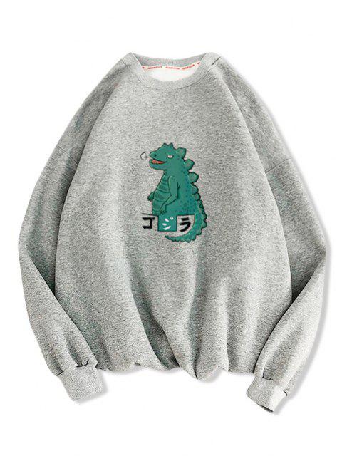 womens Cartoon Dinosaur Print Drop Shoulder Casual Sweatshirt - LIGHT GRAY L Mobile