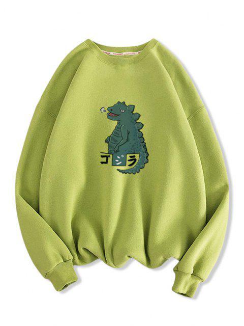Sweat-shirt Décontracté Dinosaure Dessin Animé Imprimé à Goutte Epaule - Vert clair 2XL Mobile
