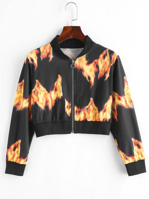 sale Flame Print Pull Ring Cropped Jacket - BLACK M Mobile