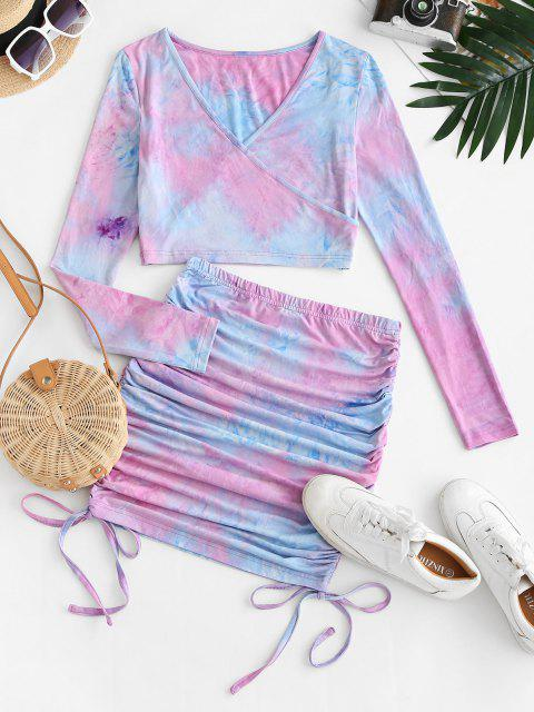 best ZAFUL Tie Dye Cinched Surplice Mini Skirt Set - LIGHT PURPLE M Mobile