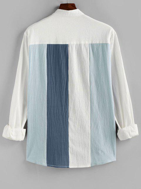 ZAFUL Long Sleeve Contrast Button Up Shirt - أزرق فاتح 2XL Mobile