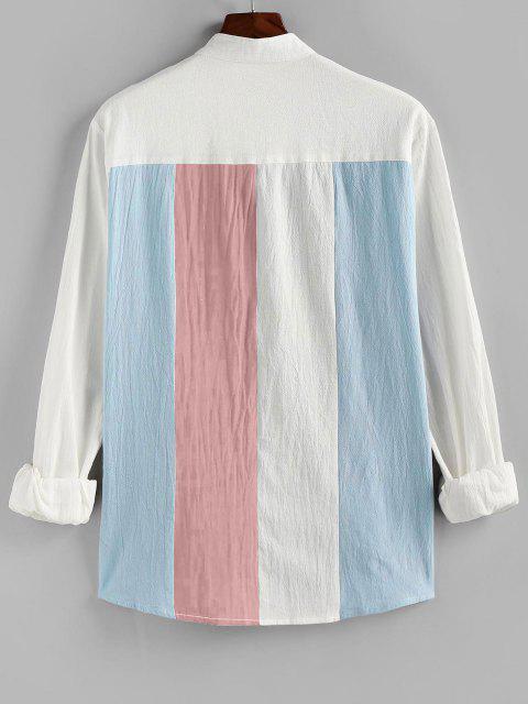women ZAFUL Long Sleeve Contrast Button Up Shirt - LIGHT PINK 2XL Mobile
