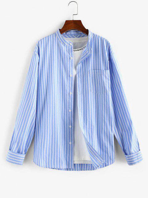 fancy ZAFUL Striped Pocket Stand Collar Shirt - LIGHT BLUE S Mobile