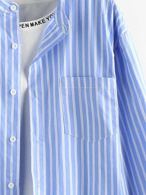 sale ZAFUL Striped Pocket Stand Collar Shirt - LIGHT BLUE L Mobile
