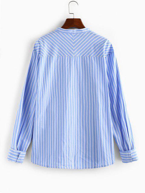 buy ZAFUL Striped Pocket Stand Collar Shirt - LIGHT BLUE 2XL Mobile