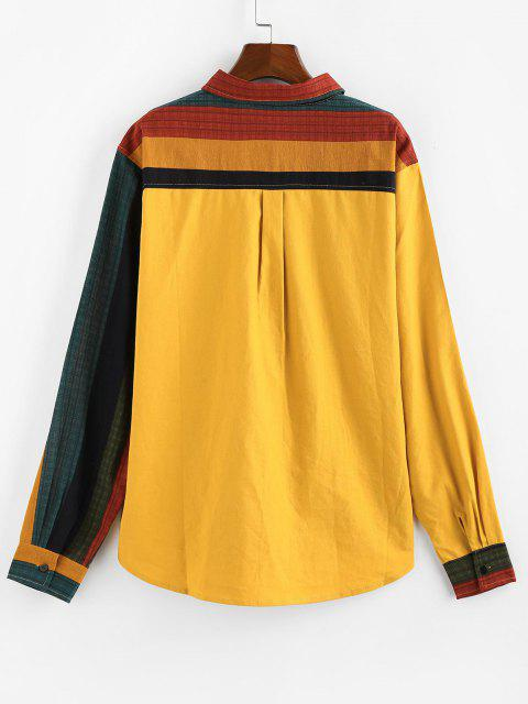 outfit ZAFUL Colorblock Panel Pocket Patch Long Sleeve Shirt - YELLOW S Mobile