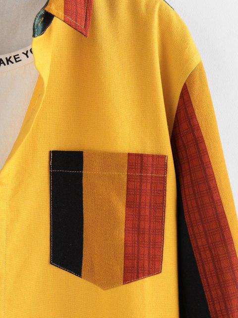 latest ZAFUL Colorblock Panel Pocket Patch Long Sleeve Shirt - YELLOW 2XL Mobile