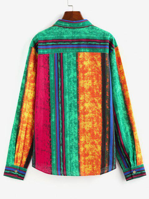 lady ZAFUL Colorblock Stripes Pocket Patch Long Sleeve Shirt - MULTI L Mobile