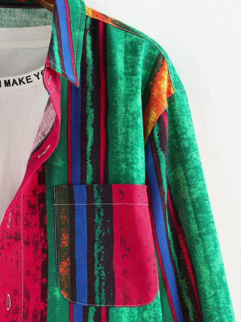 best ZAFUL Colorblock Stripes Pocket Patch Long Sleeve Shirt - MULTI XL Mobile