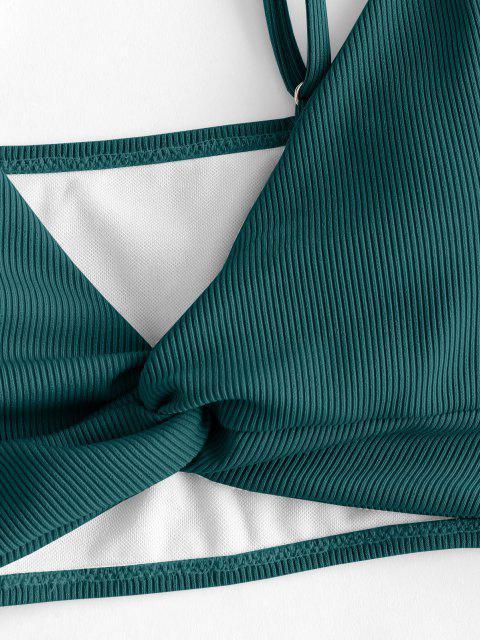 ZAFUL Gerippte Verdrehte Tankini Badebekleidung mit Hohem Bein - Dunkelgrün 2XL Mobile