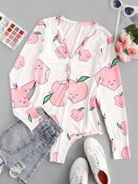 women Cartoon Print Button Placket Bodysuit - LIGHT PINK M Mobile