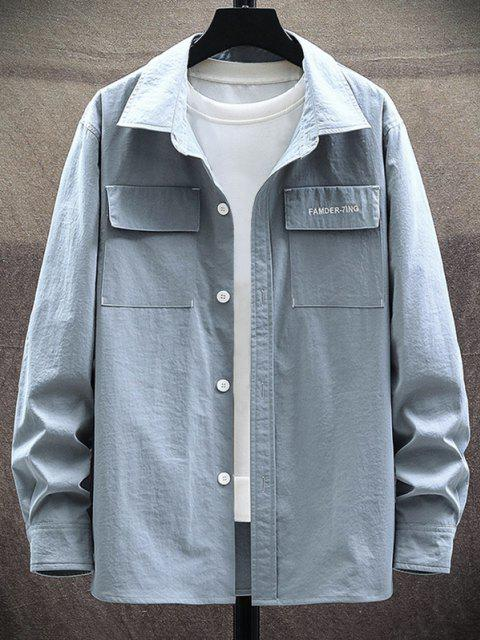 affordable Letter Embroidery Elbow Patchwork Flap Pocket Shirt - LIGHT GRAY XL Mobile
