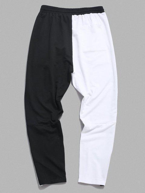 Buchstabedruck Schlitz Kontrast Hosen - Weiß XL Mobile