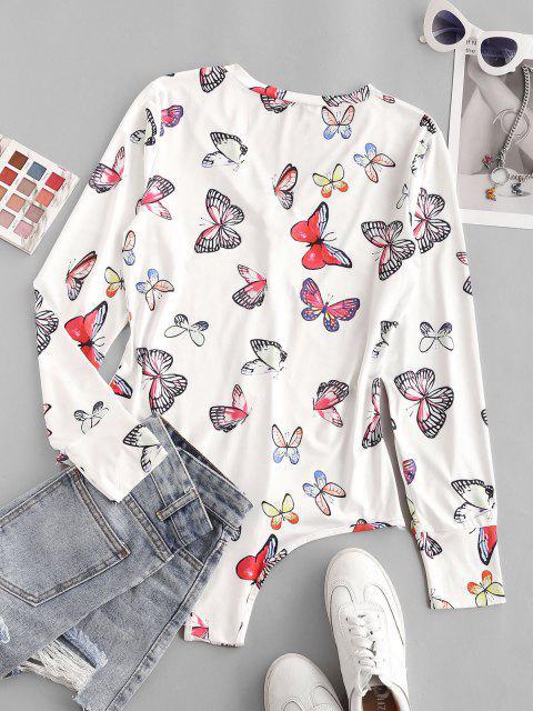 sale Button Placket Butterfly Print Bodysuit - WHITE S Mobile