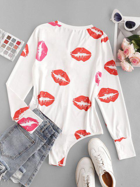 trendy Lips Print Long Sleeve Bodysuit - RED L Mobile
