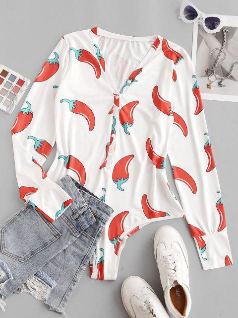 trendy Chili Print Button Placket Bodysuit - RED M Mobile