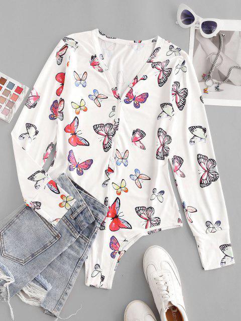 women Button Placket Butterfly Print Bodysuit - WHITE M Mobile