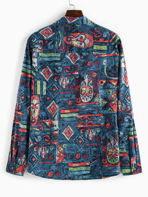 sale ZAFUL Allover Tribal Print Long Sleeve Shirt - DEEP BLUE 2XL Mobile