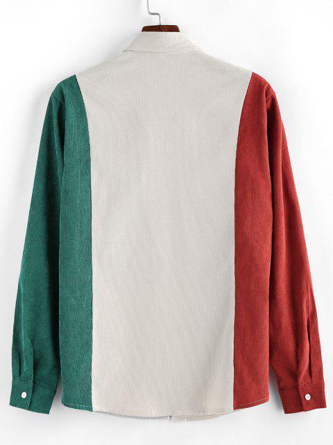 women's ZAFUL Double Pockets Contrast Corduroy Shirt - MULTI 2XL Mobile