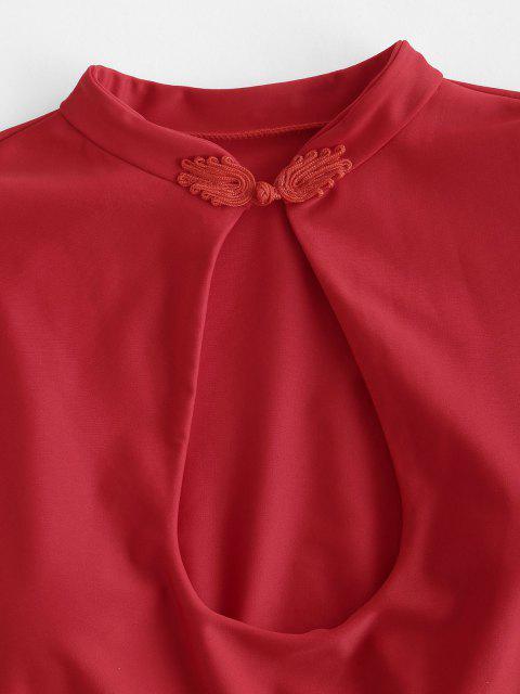 ZAFUL Schlüsselloch Bikini Badeanzug mit Hohem Ausschnitt - Rot S Mobile