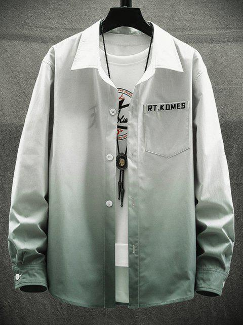 fancy Ombre Print Pocket Patch Letter Long Sleeve Shirt - LIGHT GRAY S Mobile