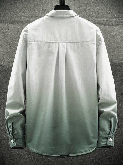 オンブルはポケットパッチレター長袖シャツ - ライトグレー XS Mobile
