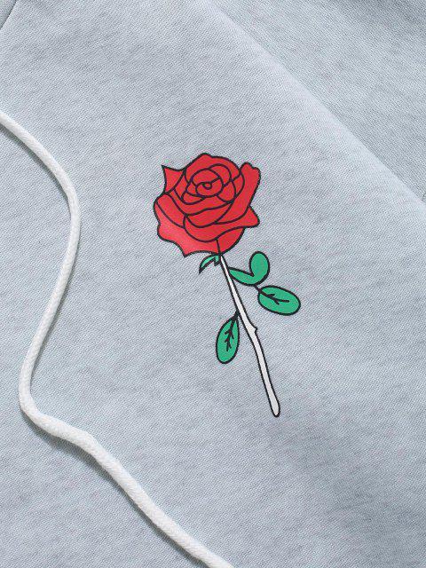 Rose Buchstabe Vlies Känguru Tasche Kapuze Hoodie - Hellgrau L Mobile