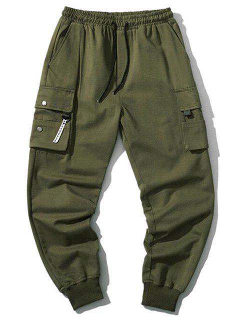 Pantalones Jogger de Cordón con Bolsillos de Solapa - Ejercito Verde XS Mobile