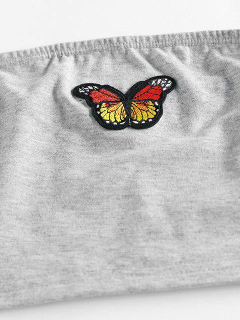fancy ZAFUL Strapless Butterfly Applique Jogger Pants Set - LIGHT GRAY S Mobile