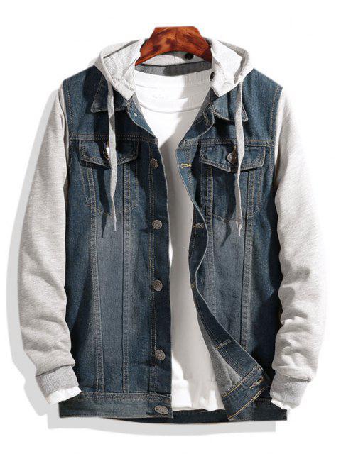 trendy Colorblock Panel Combo Hooded Denim Jacket - BLUE L Mobile