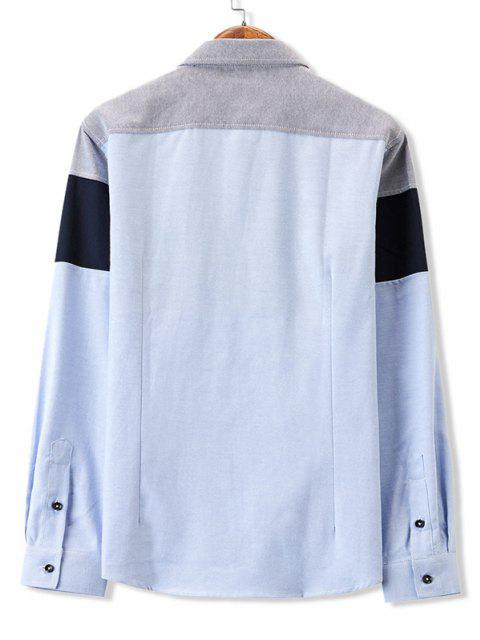 hot Colorblock Panel Pocket Stitching Long Sleeve Shirt - GRAY S Mobile