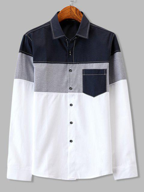 new Colorblock Panel Pocket Stitching Long Sleeve Shirt - CADETBLUE S Mobile