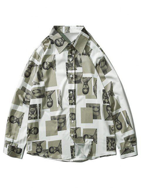図コントラストパッチロングスリーブシャツ - マルチC XL Mobile