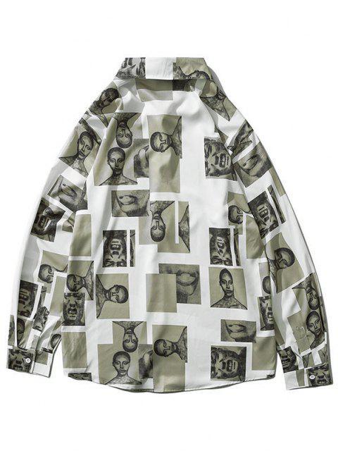 latest Figure Contrast Patch Long Sleeve Shirt - MULTI-C 2XL Mobile