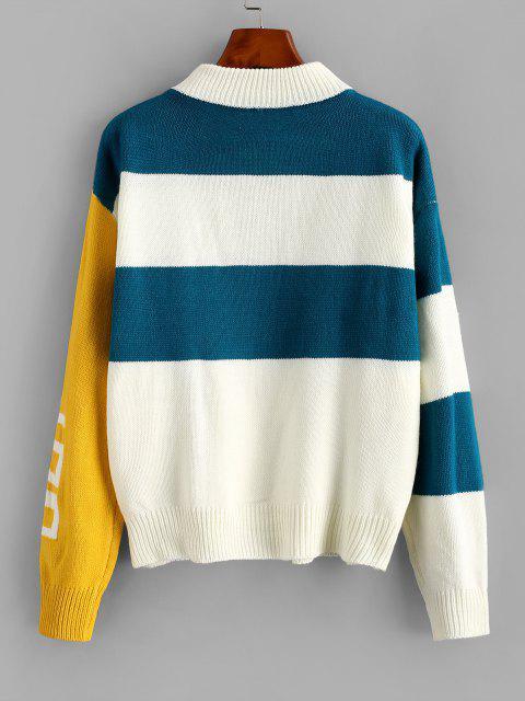 Stehkragen Farbblock Streifen Pullover - Multi-A Eine Größe Mobile