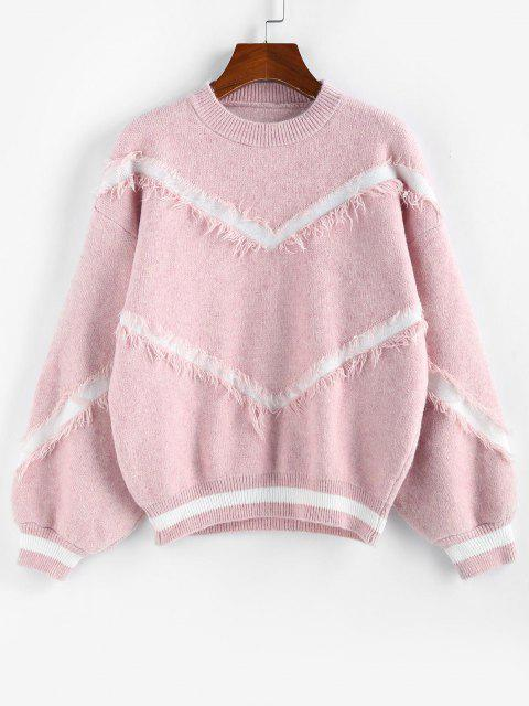 lady Lantern Sleeve Drop Shoulder Frayed Graphic Sweater - LIGHT PINK S Mobile