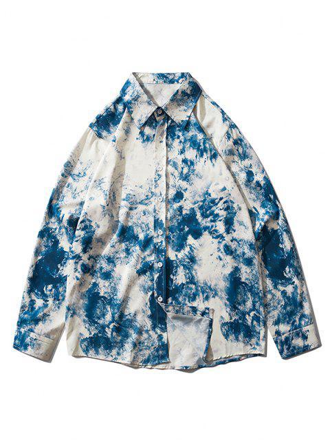 online Long Sleeve Tie Dye Print Shirt - BLUEBERRY BLUE 2XL Mobile