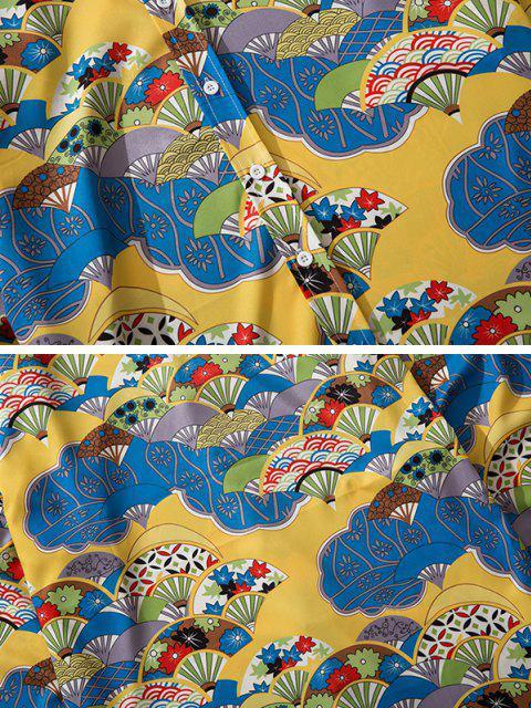 women Long Sleeve Japanese Fan Print Shirt - GOLDEN BROWN L Mobile