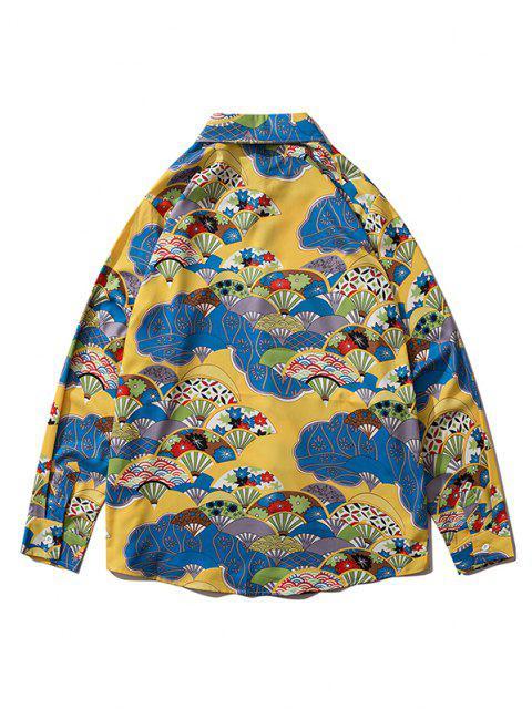 lady Long Sleeve Japanese Fan Print Shirt - GOLDEN BROWN XL Mobile