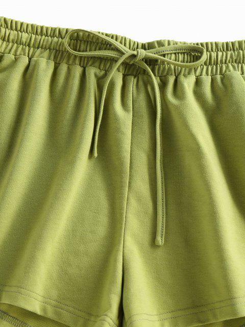 chic ZAFUL Drop Shoulder Sweatshirt and Drawstring Shorts Set - CAMOUFLAGE GREEN S Mobile