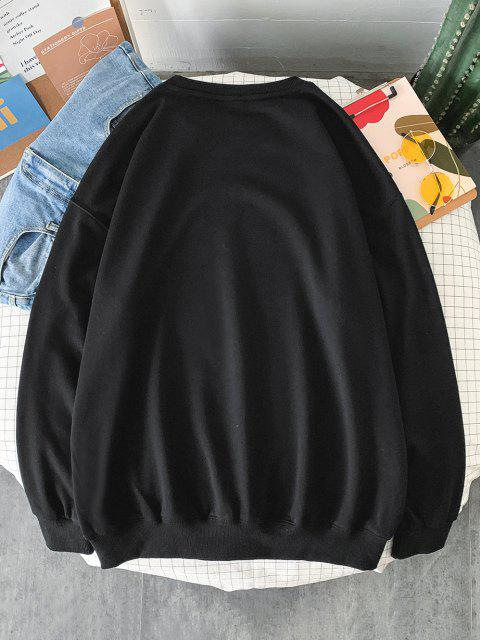 Sweat-shirt Géométrique Lettre Imprimée à Col Rond - Noir L Mobile